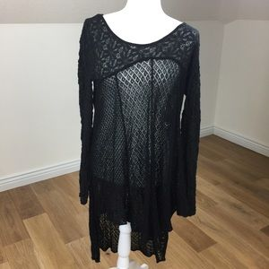 🌻Free People Black Lace See Through Dress